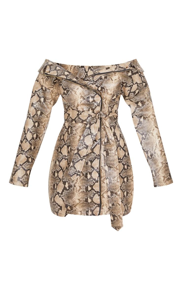 Taupe PU Snake Bardot Blazer Dress 4