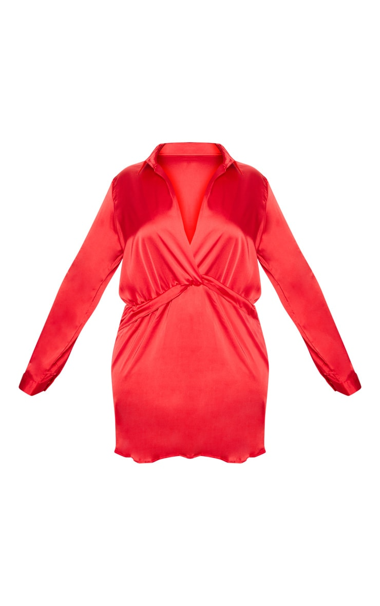Plus Red Twist Front Silky Shirt Dress 3