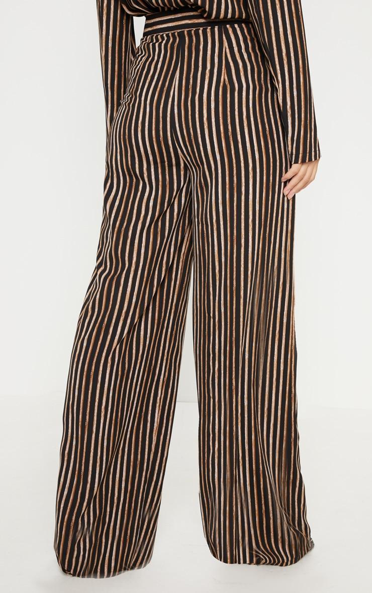 Black Stripe High Waisted Straight Leg Trouser 4