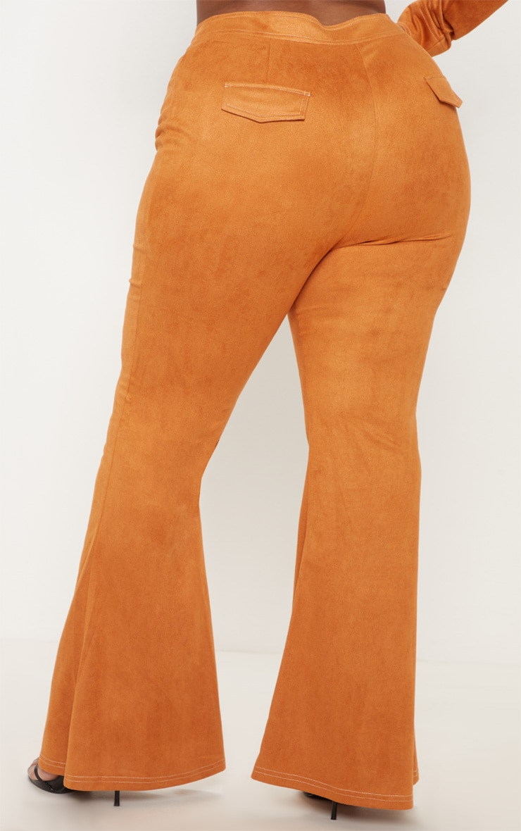 Plus Toffee High Waisted Flare Leg Trousers 4
