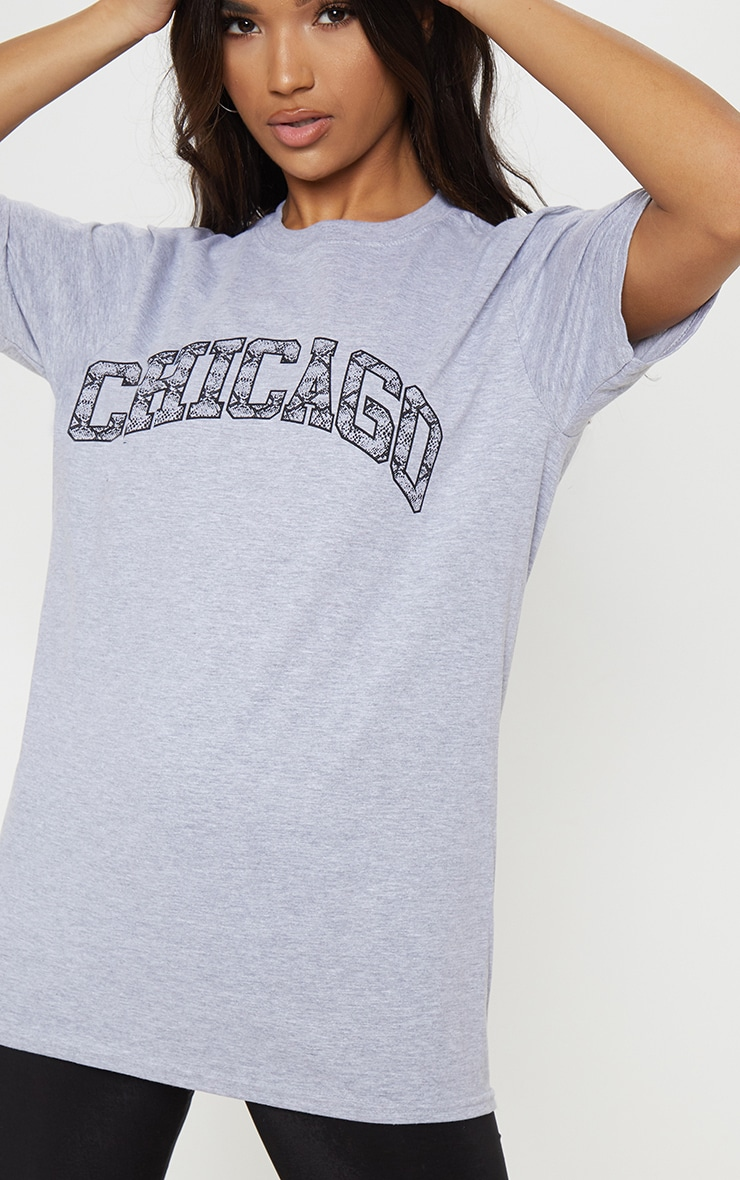 Grey Snake Print Chicago Oversized T Shirt 1