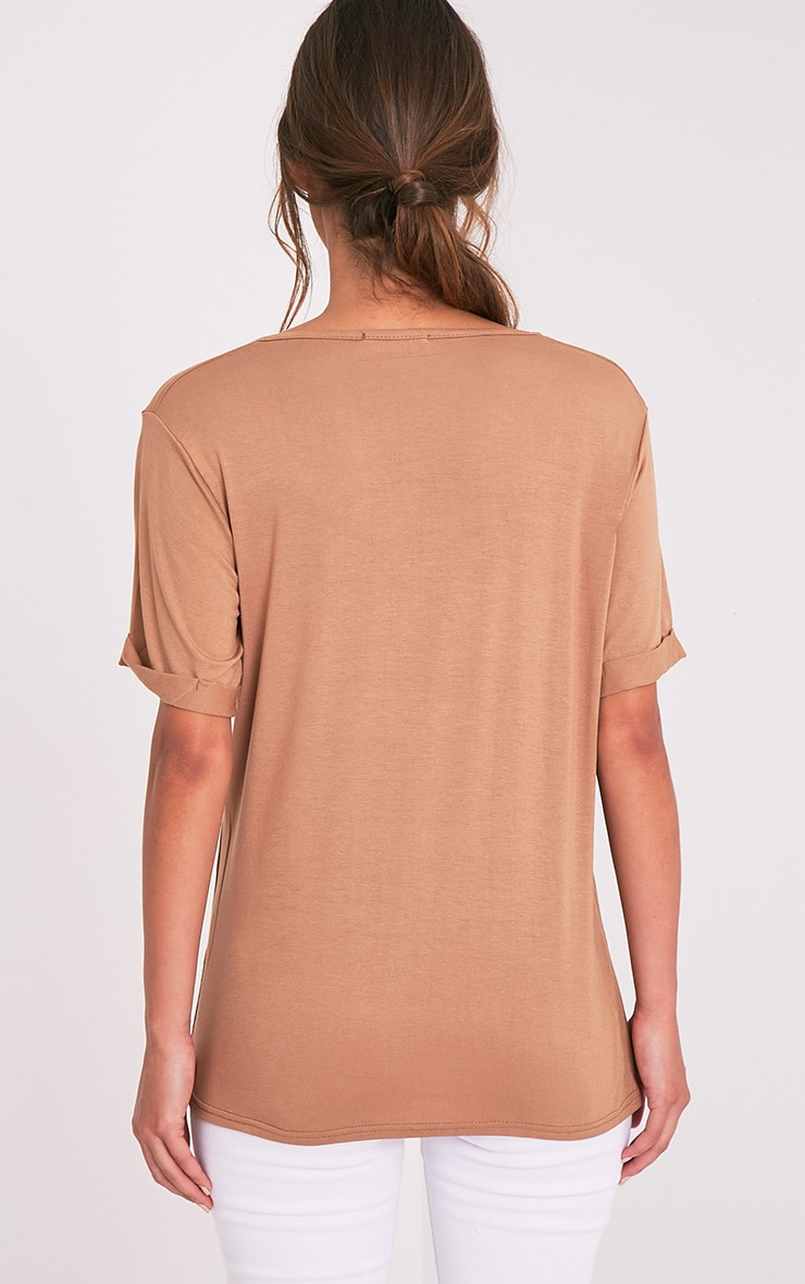 Basic Camel V Neck Oversized T-Shirt 2