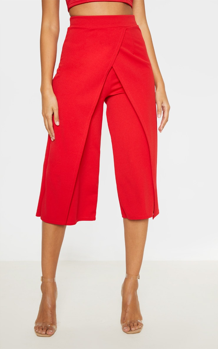 Red Crepe Wrap Detail Culotte 2