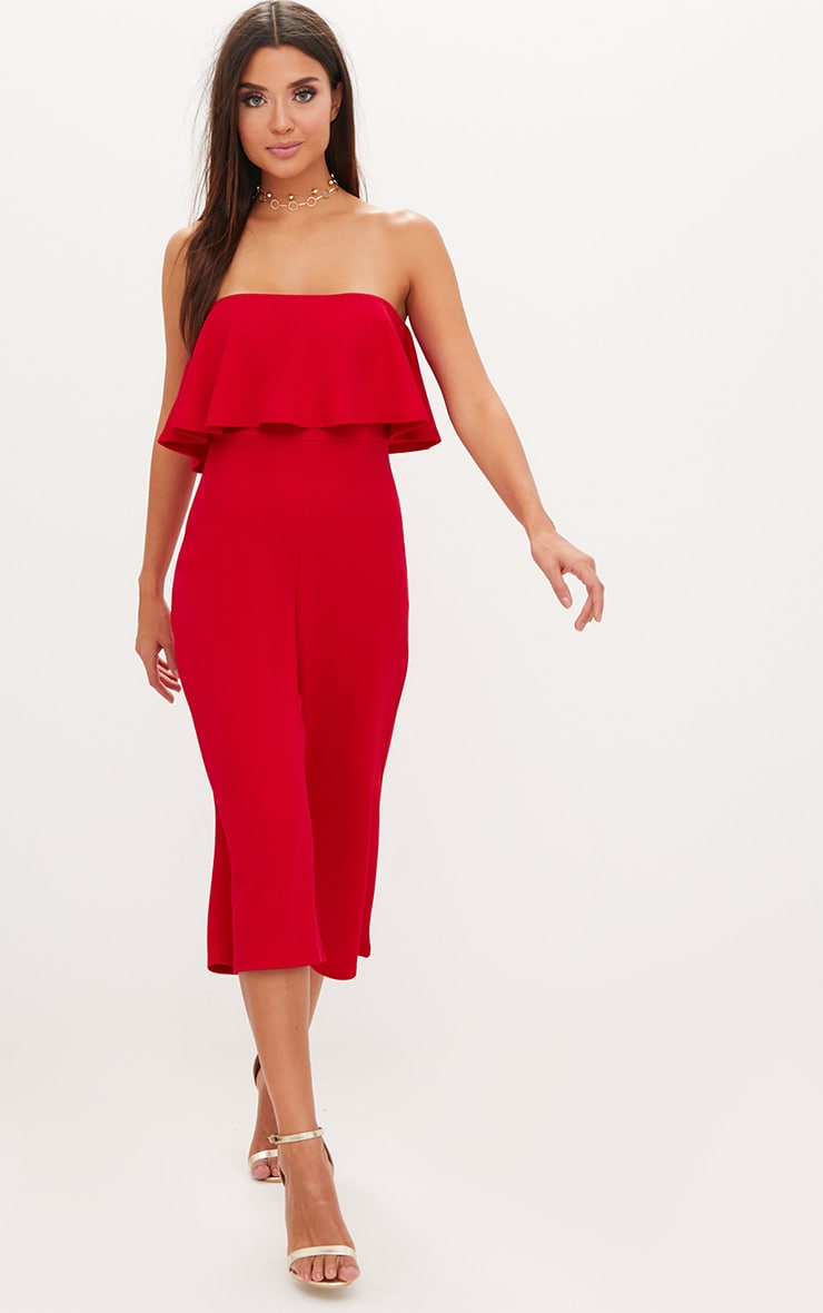 Red Bardot Double Layer Culotte Jumpsuit 4