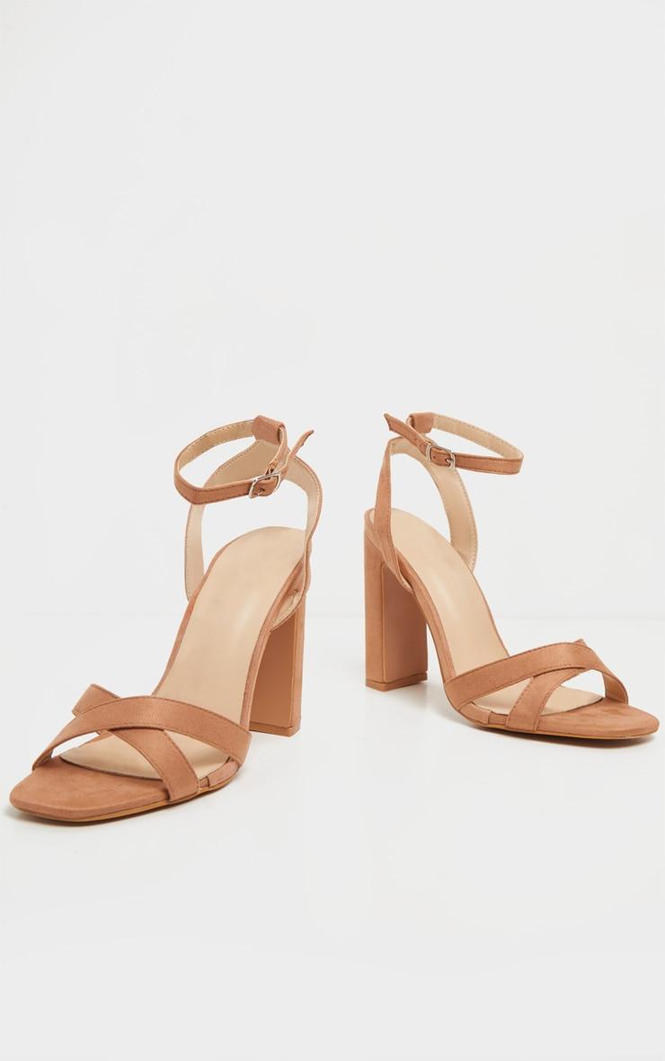 Nude Cross Strap Block Heel Sandal 5