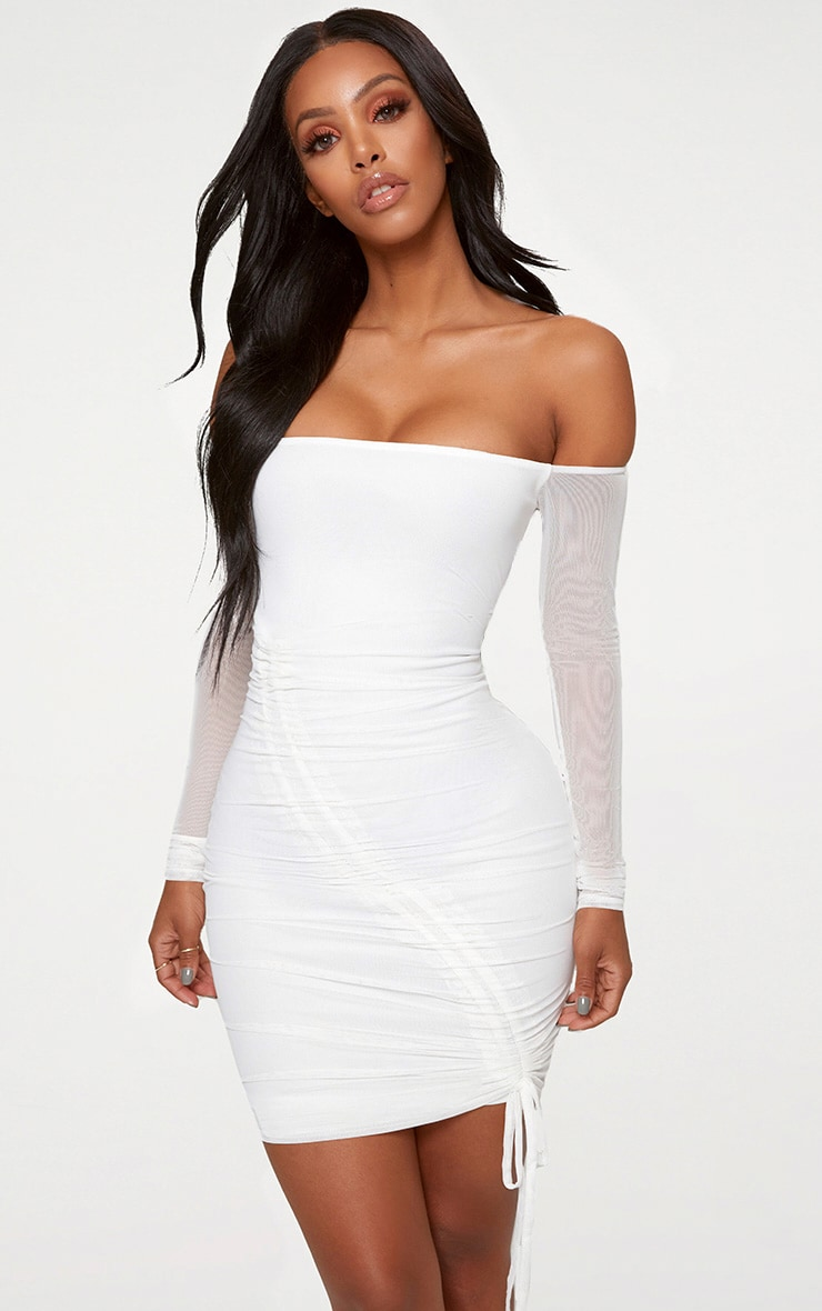 Shape White Ruched Mesh Bodycon Dress 1