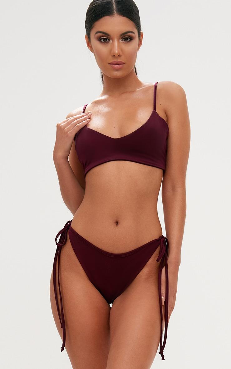 Burgundy Skinny Strap Bikini Top 1