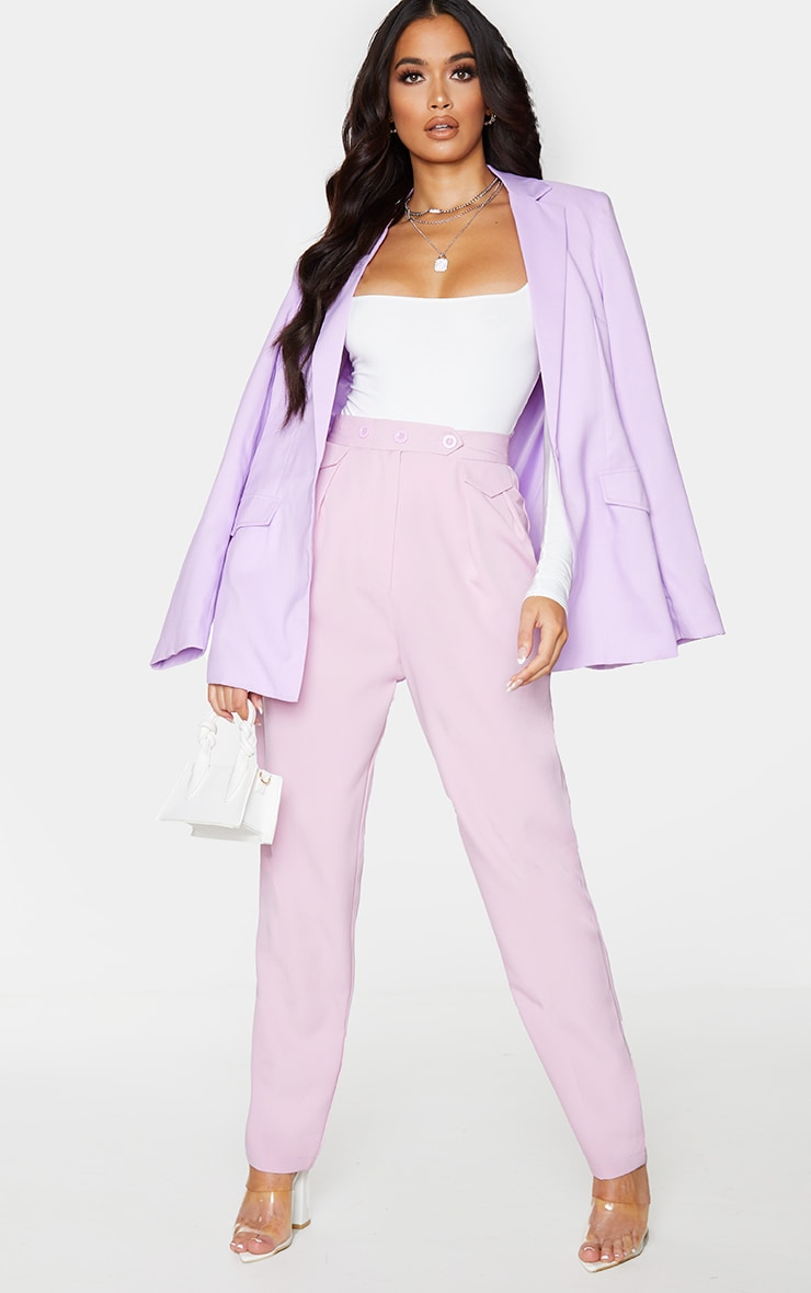 Lilac Tapered Button Front Pants 1