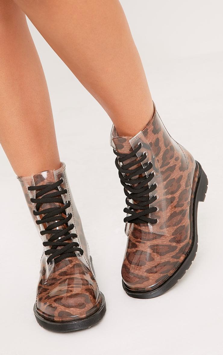 Jaslene Tan Leopard Lace Up Rain Boots 5