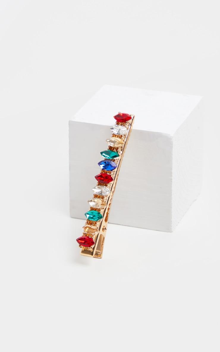Multi Colour Baguette Jewel Hair Slide 2