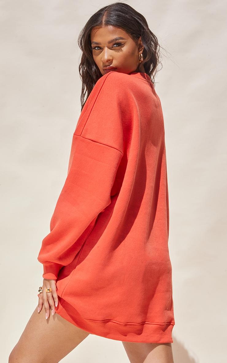 Washed Red Drop Shoulder Oversized Sweat Jumper Dress 2