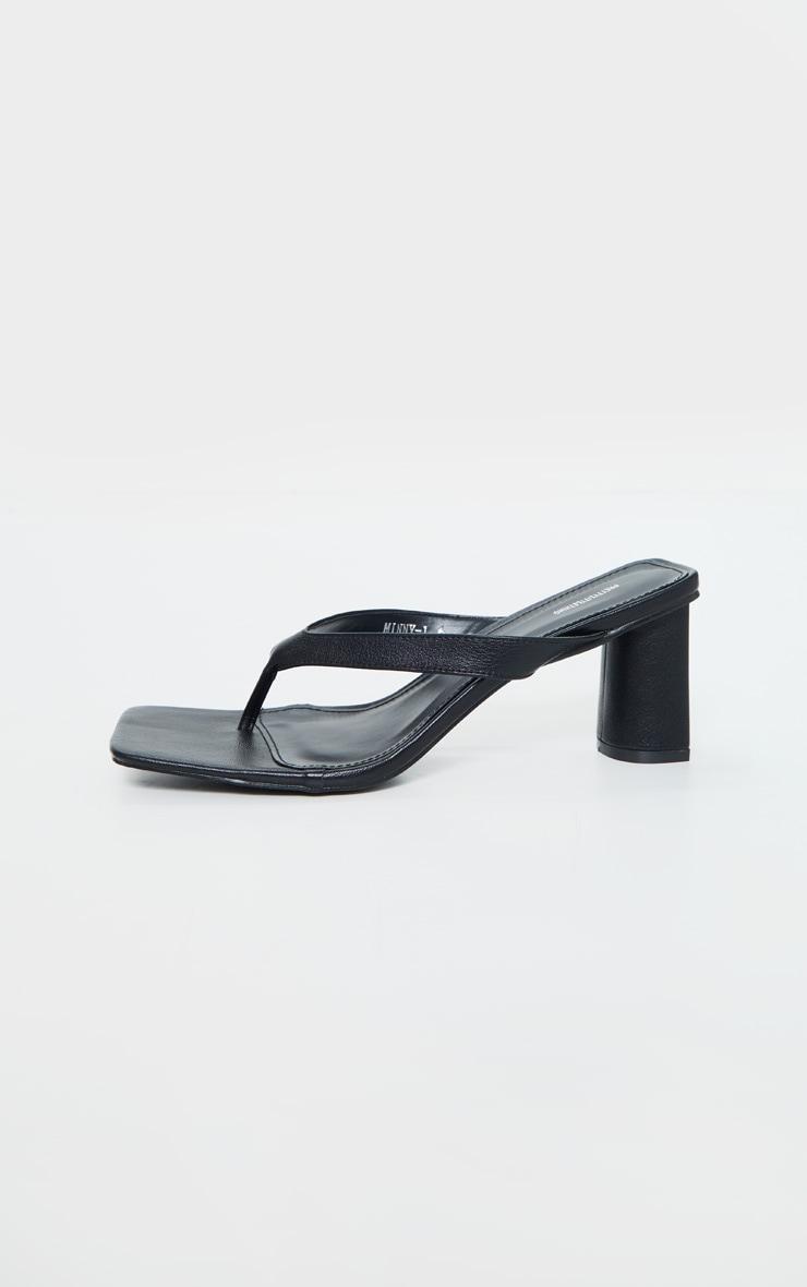 Black Toe Thong Extreme Square Toe Mid Block Heel Sandals 5