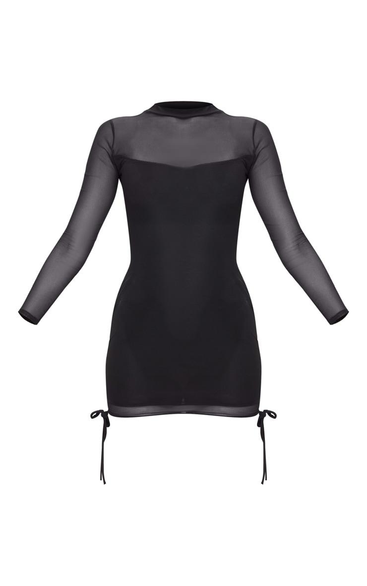Black high neck mesh insert sleeveless bodycon dress