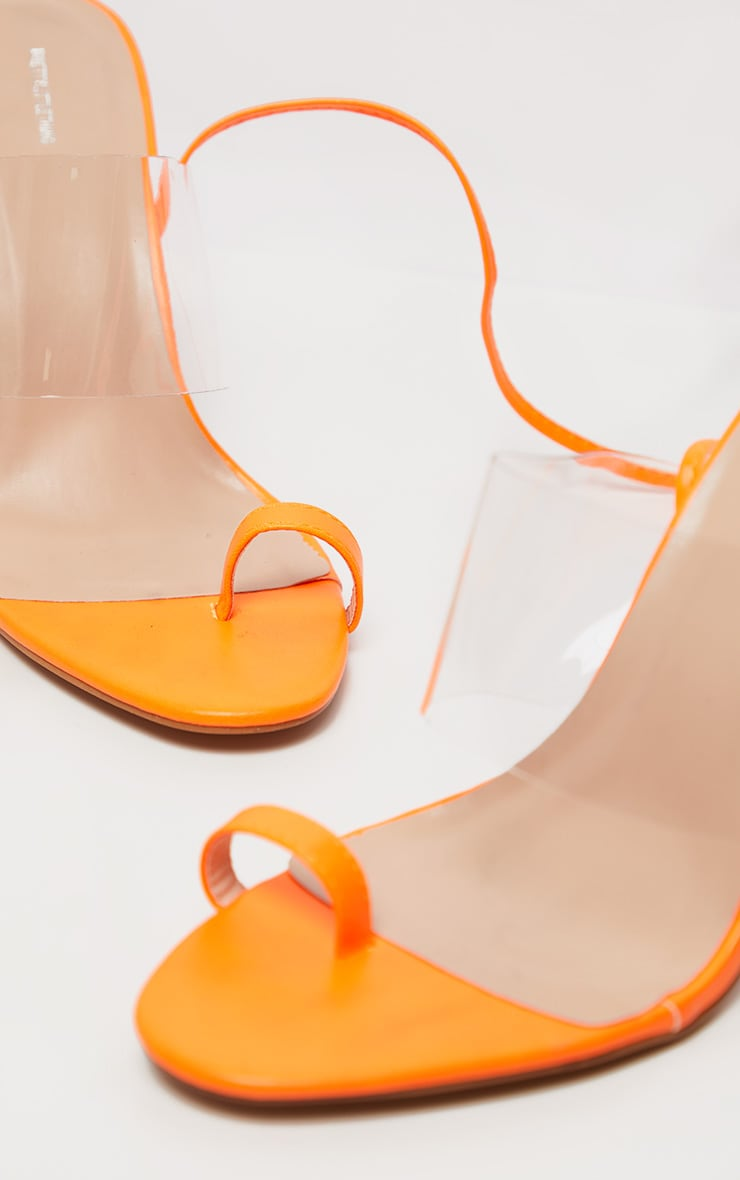 Orange Clear Heel Toe Loop Ankle Tie Sandal 3