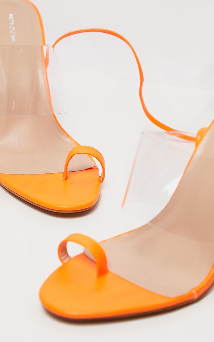 Orange Clear Heel Toe Loop Ankle Tie Sandal  3