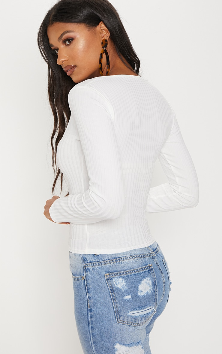 White Long Sleeve Rib Button Detail Top 2