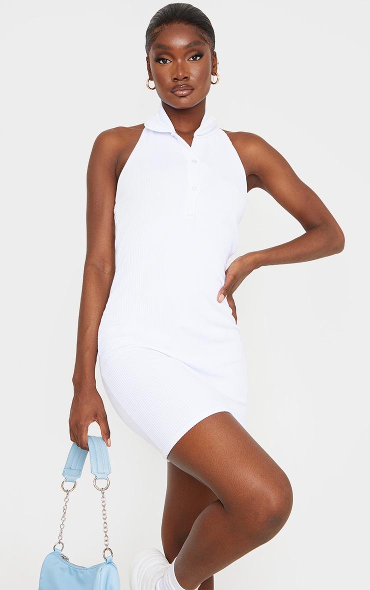 Tall White Rib Halterneck Button Detail Bodycon Dress 1
