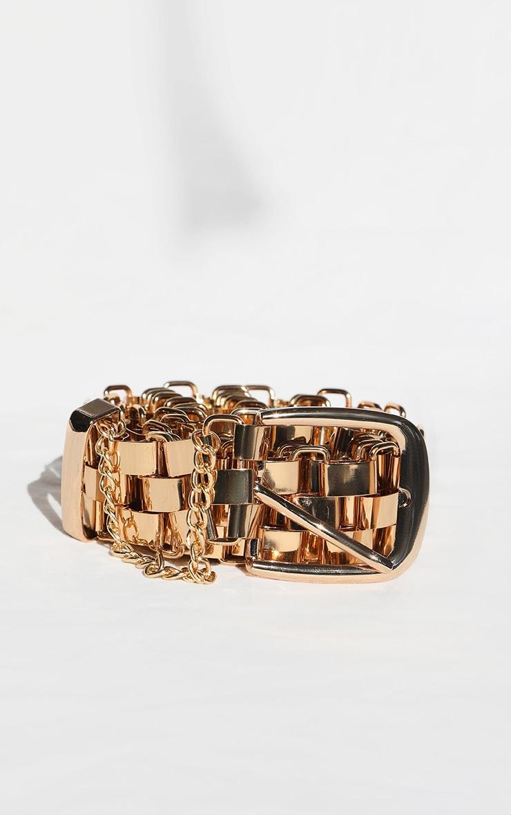 Gold Link Metal Chain Waist Belt 1