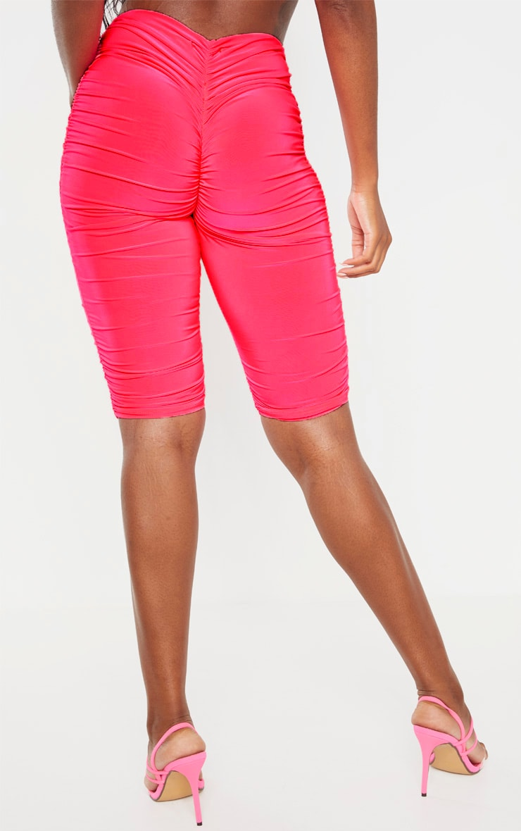 Neon Pink Slinky Ruched Bike Short 4