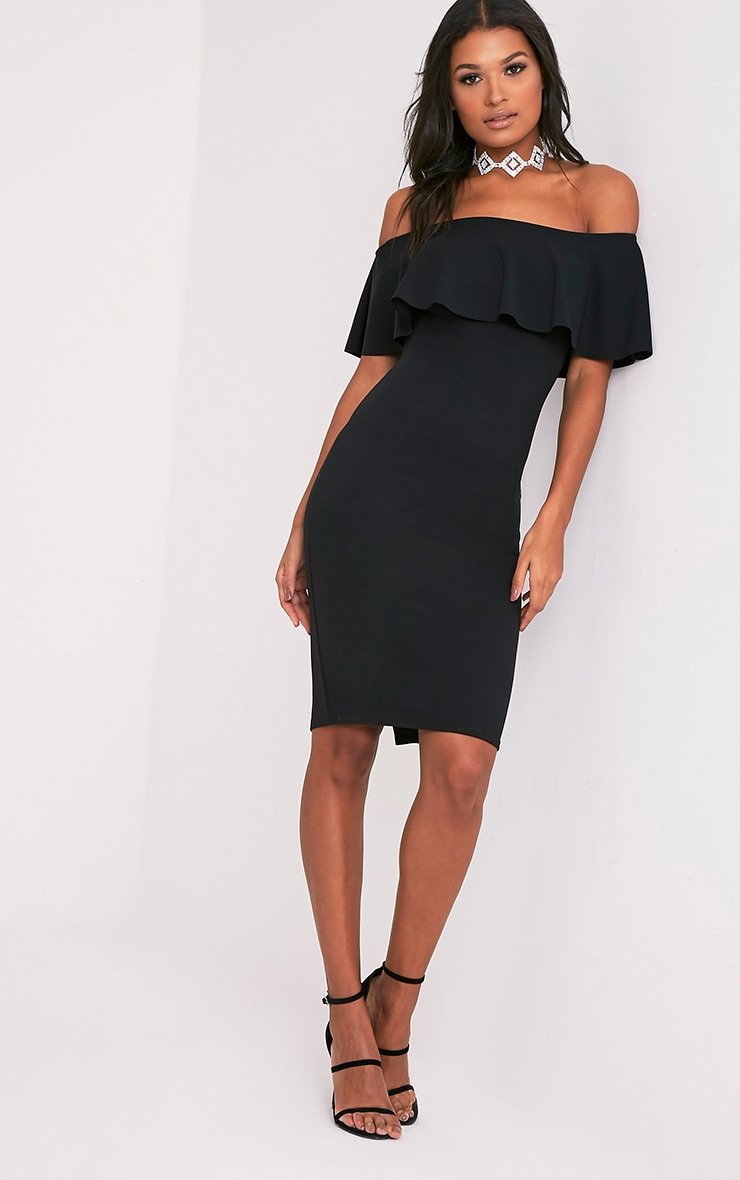 Celinea Black Bardot Frill Midi Dress 4