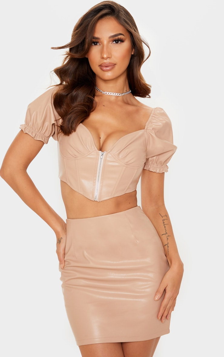 Nude PU Puff Sleeve Cup Detail Corset Top 1