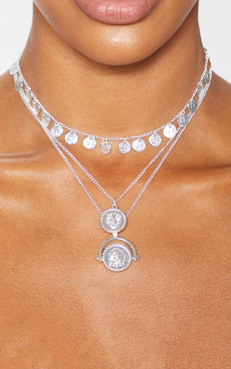 Silver Triple Layer Mini Disc Spinning Charm Necklace 2