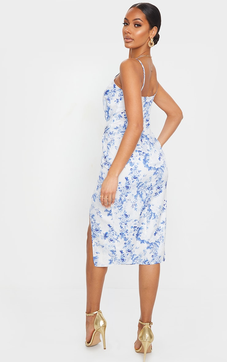 Blue Floral Print Twist Front Strappy Midi Dress 2