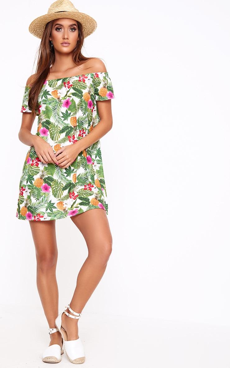 Green Leaf Print Shift Dress 4
