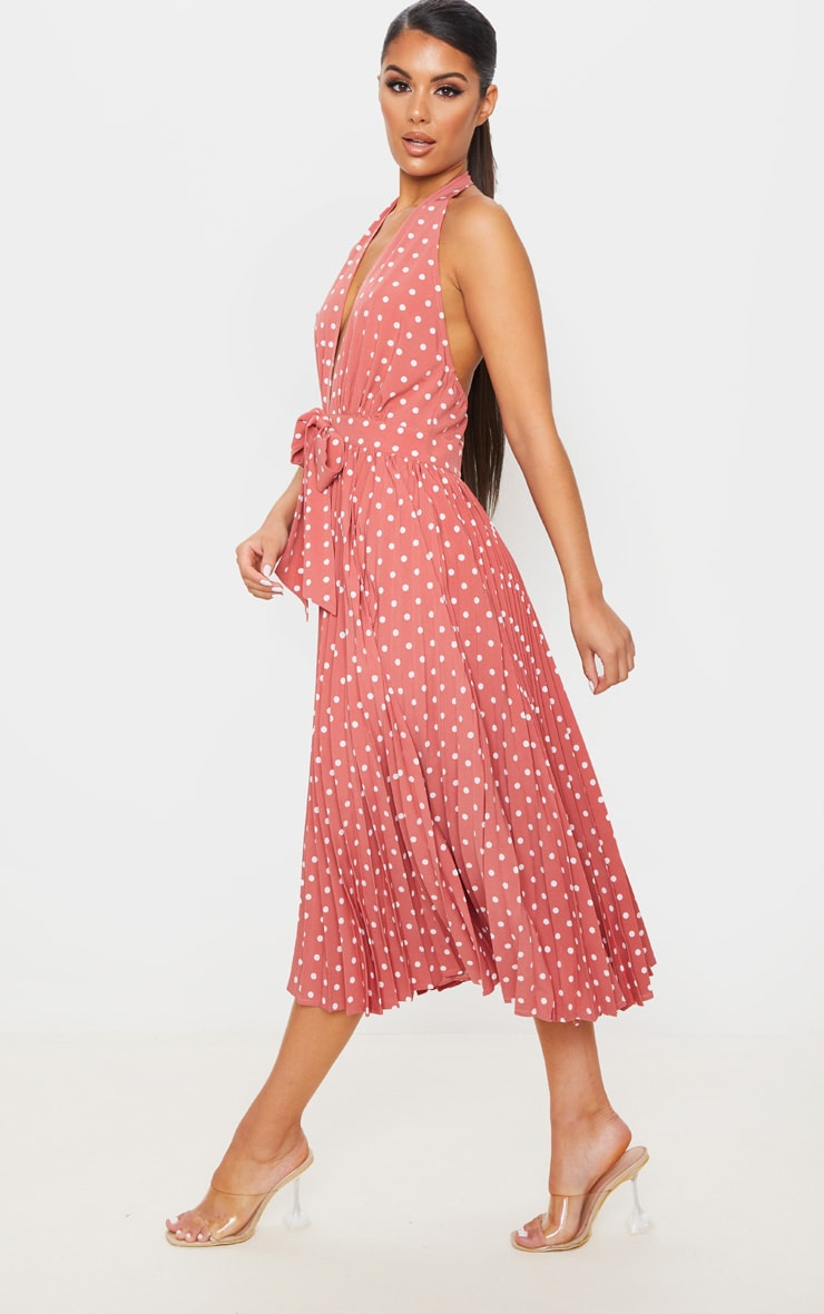 Dusty Pink Halterneck Pleated Midi Dress 4