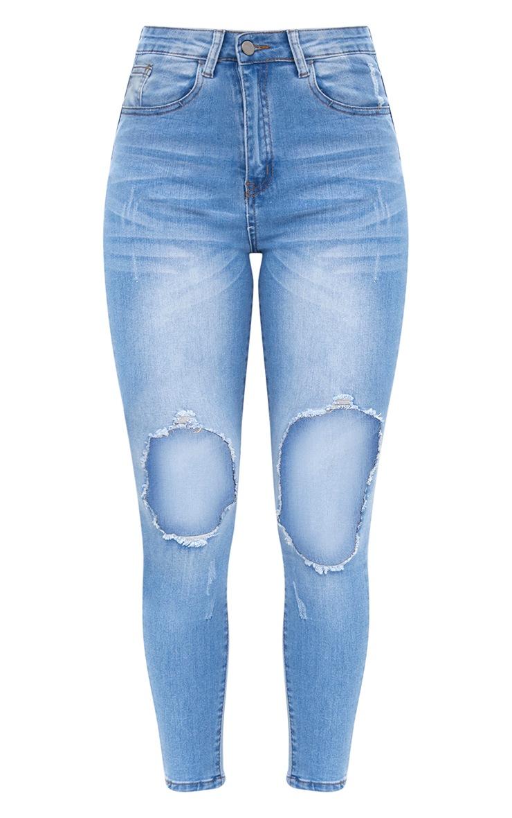 Light Wash Open Knee Skinny Jean 3