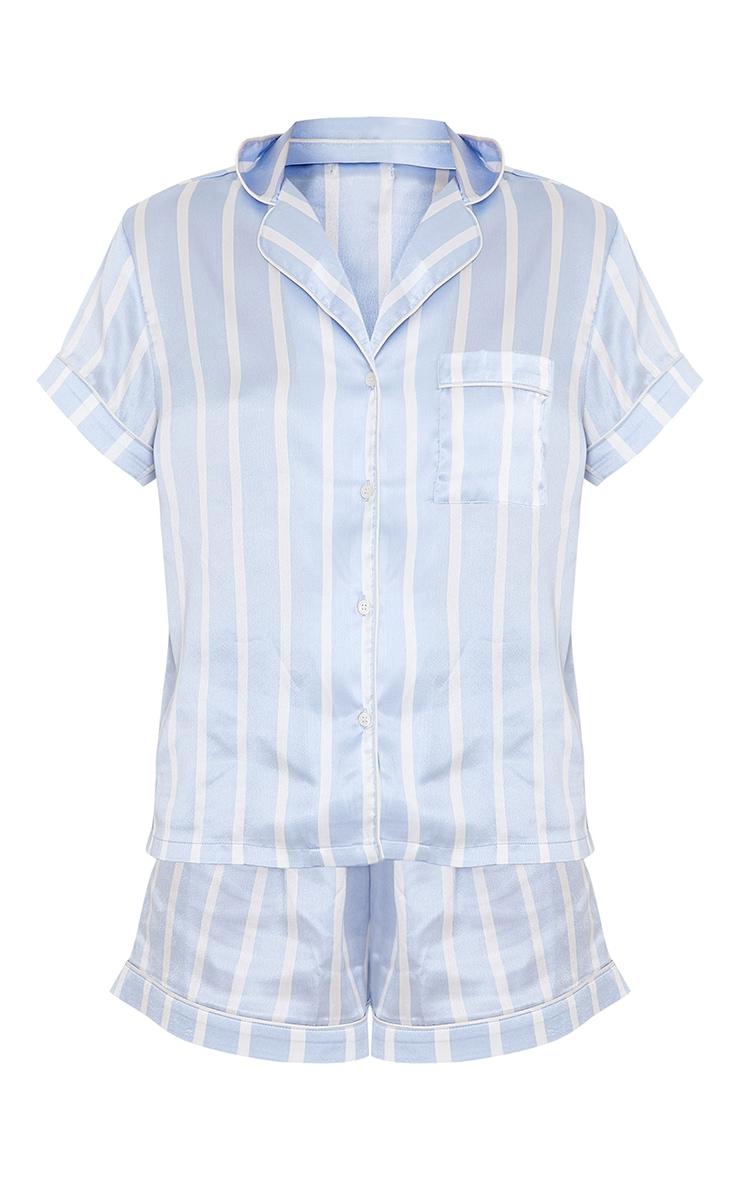 Blue Striped Satin Short Sleeve PJ Set 5