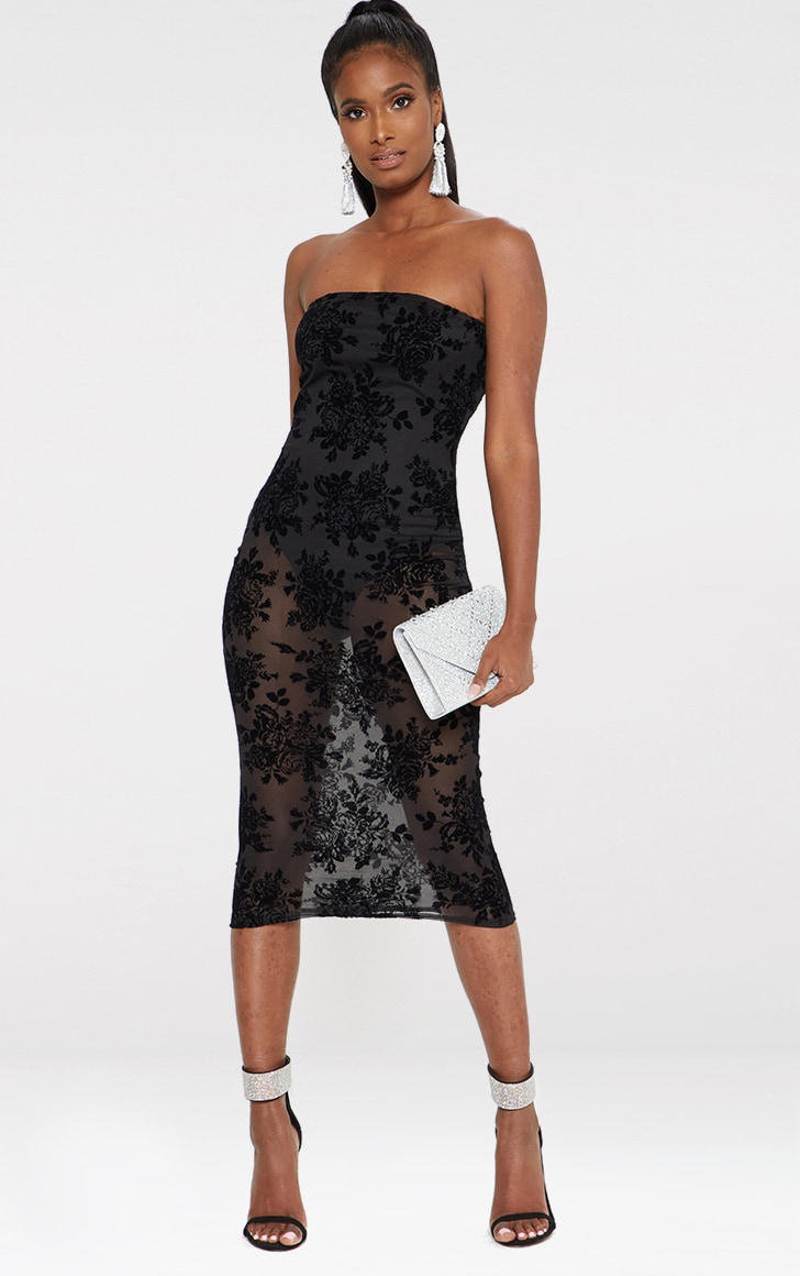 Black Flocked Bandeau Midi Dress 1