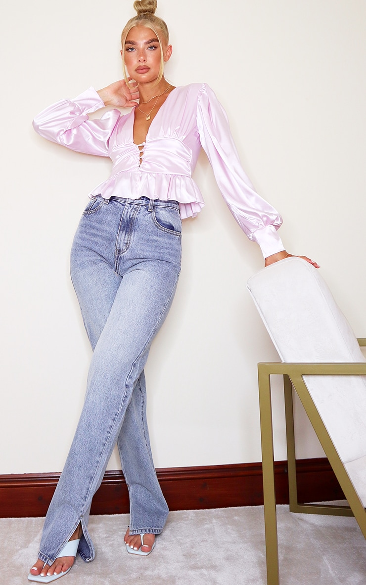 Lilac Satin Ruched Button Waist Blouse 3