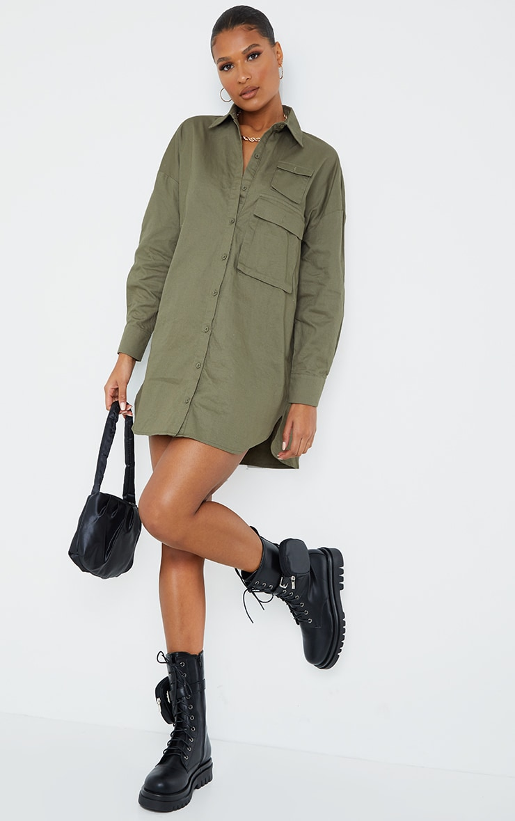 Khaki Cargo Multi Pocket Shirt Dress 3