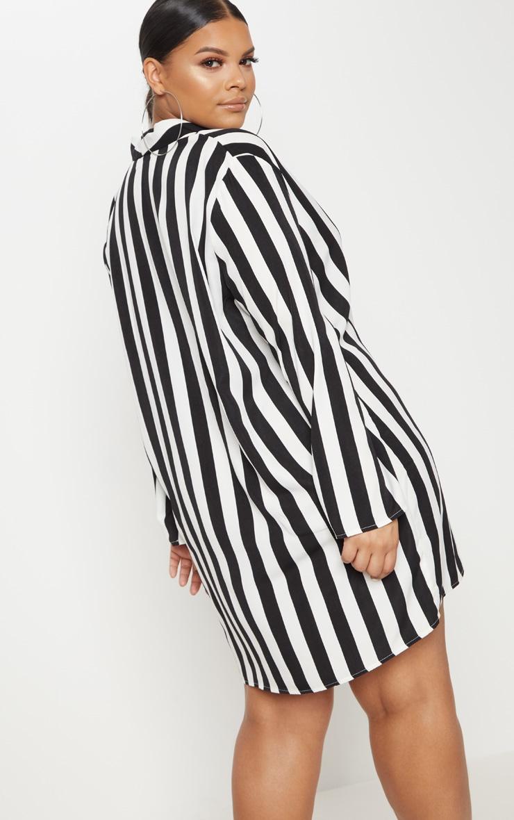 Plus  Black Oversized Striped Blazer Dress 2