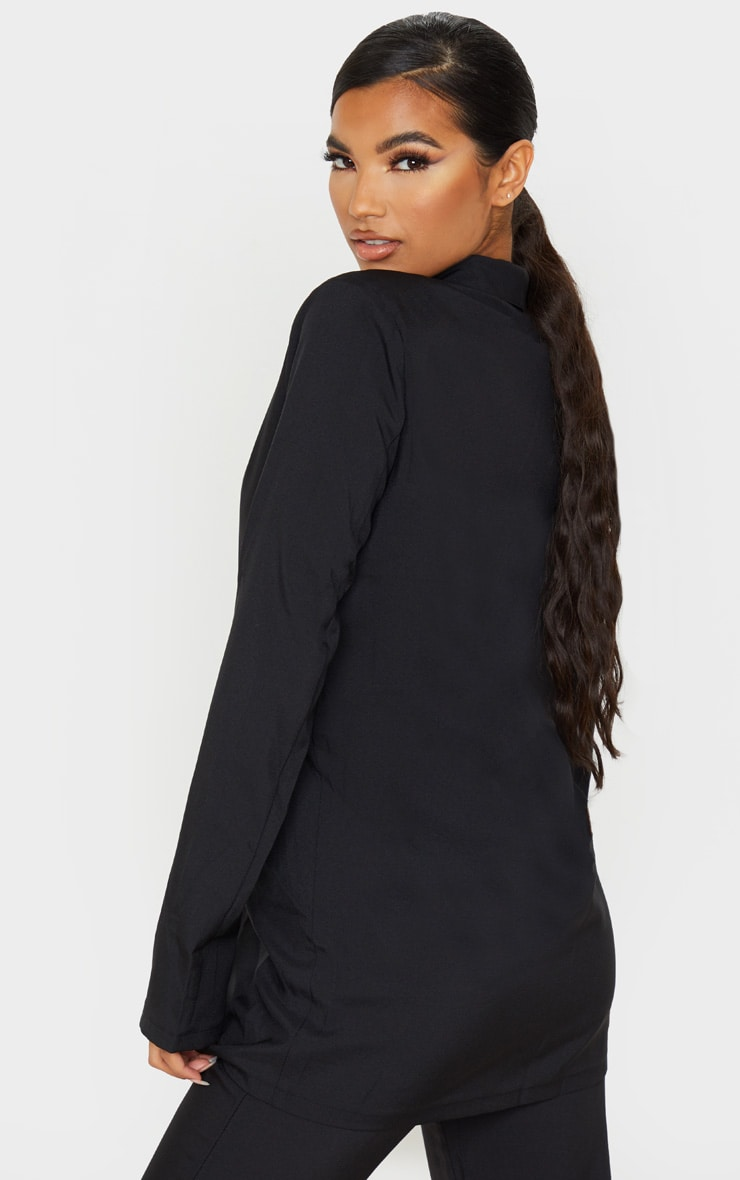 Black Shoulder Pad Double Button Blazer 2