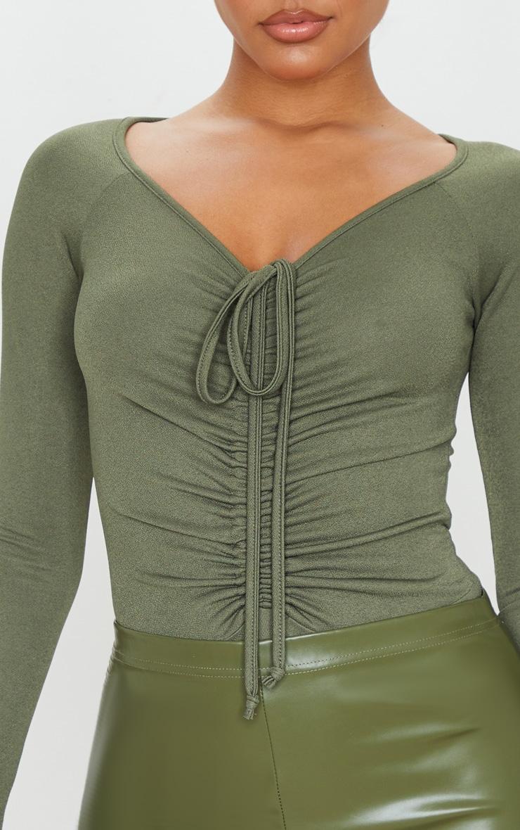 Sage Khaki Ruched Front Long Sleeve Bodysuit 6