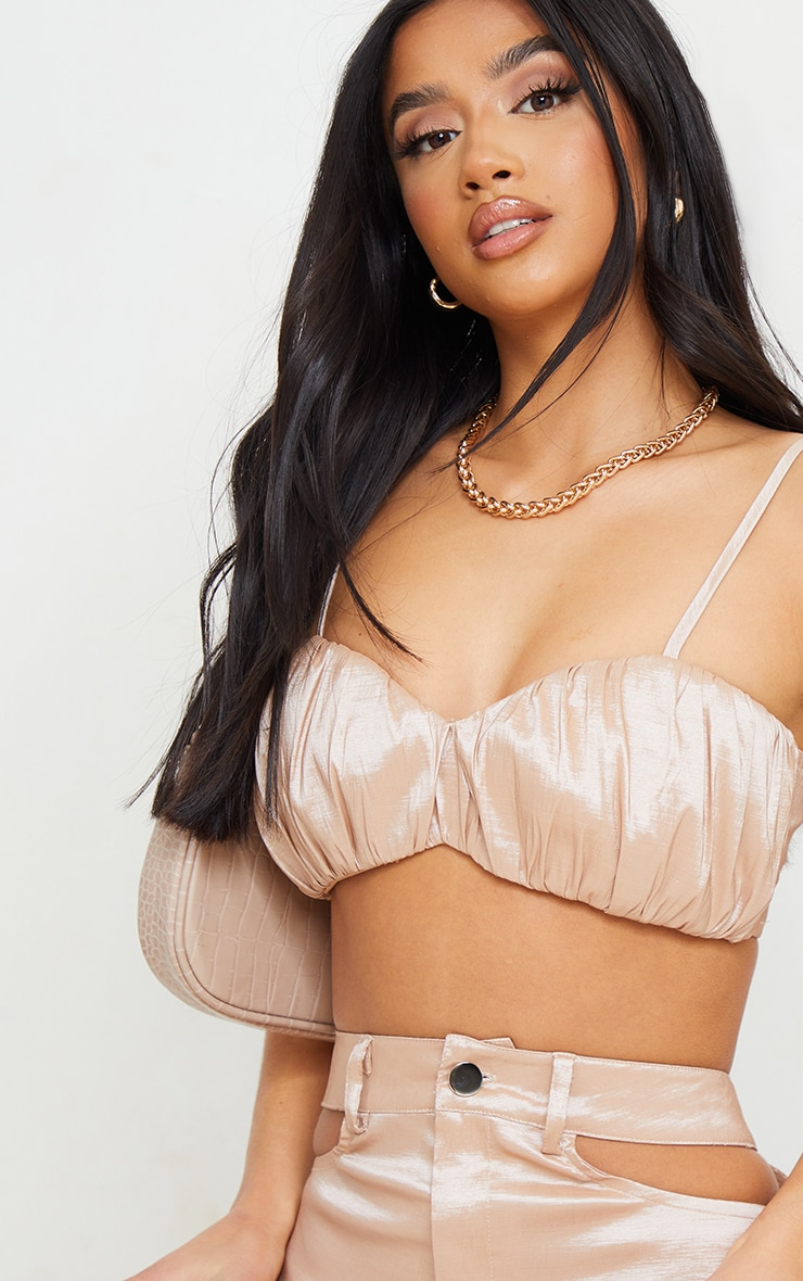 Petite Stone Ruched Strappy Cup Crop Top 4