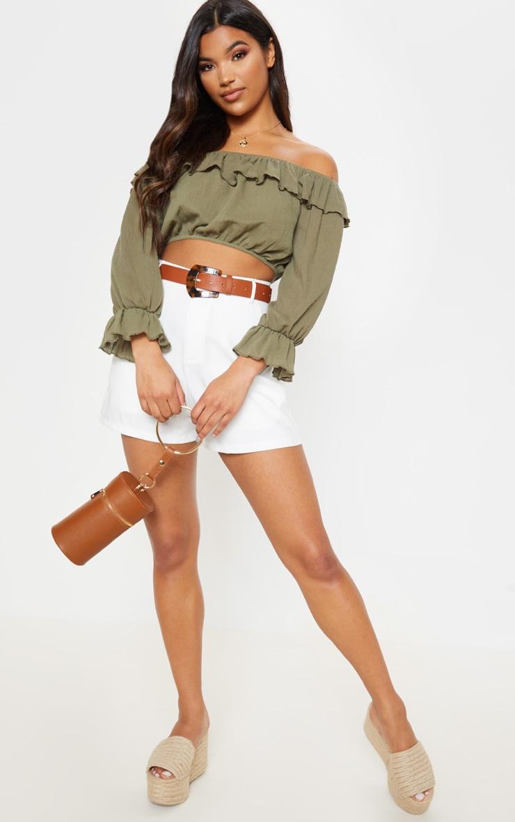 Khaki Woven Frill Bardot Long Sleeve Crop Top 3