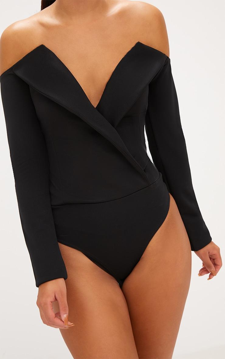Black Tux Blazer Detail Bardot Bodysuit  6