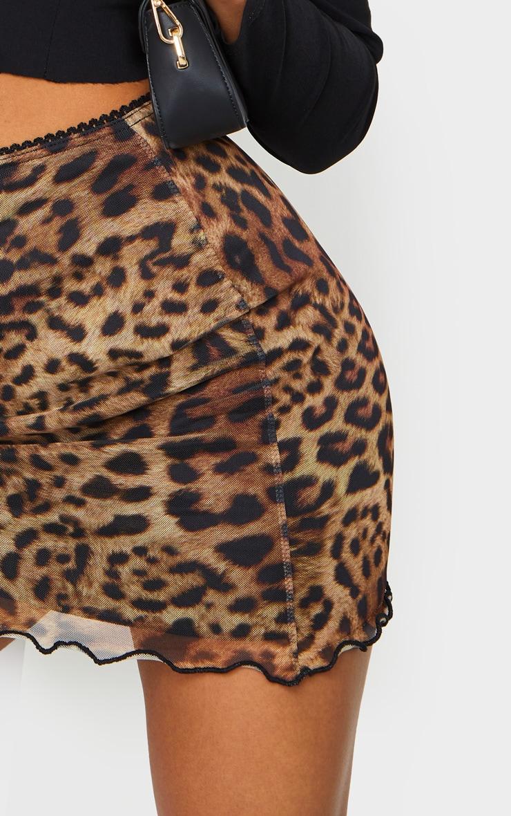 Jupe marron en mesh ondulé à imprimé léopard 5