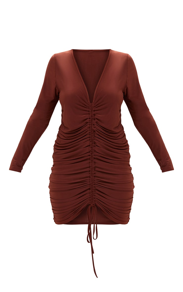 Plus Chocolate Ruched Front Slinky Mini Dress 3