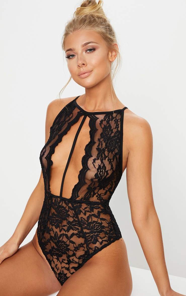 Black Strap High Neck Plunge Lace Body