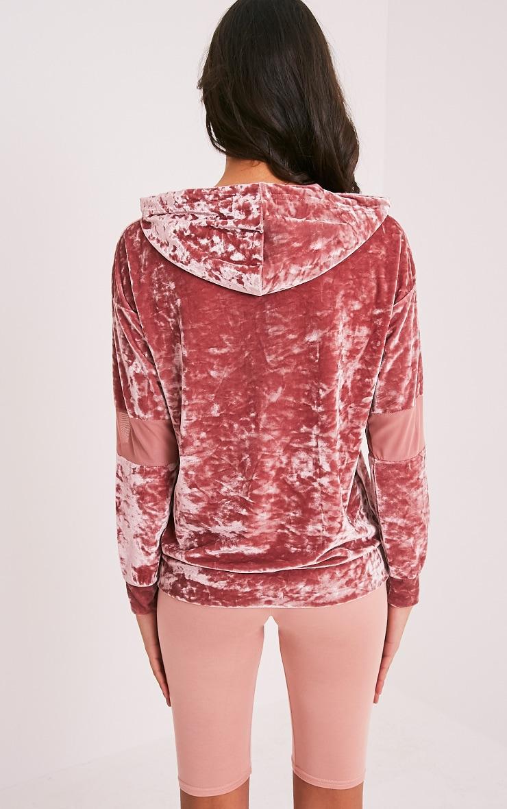 Arlo sweat à capuche en velours écrasé rose à manches en tulle 2