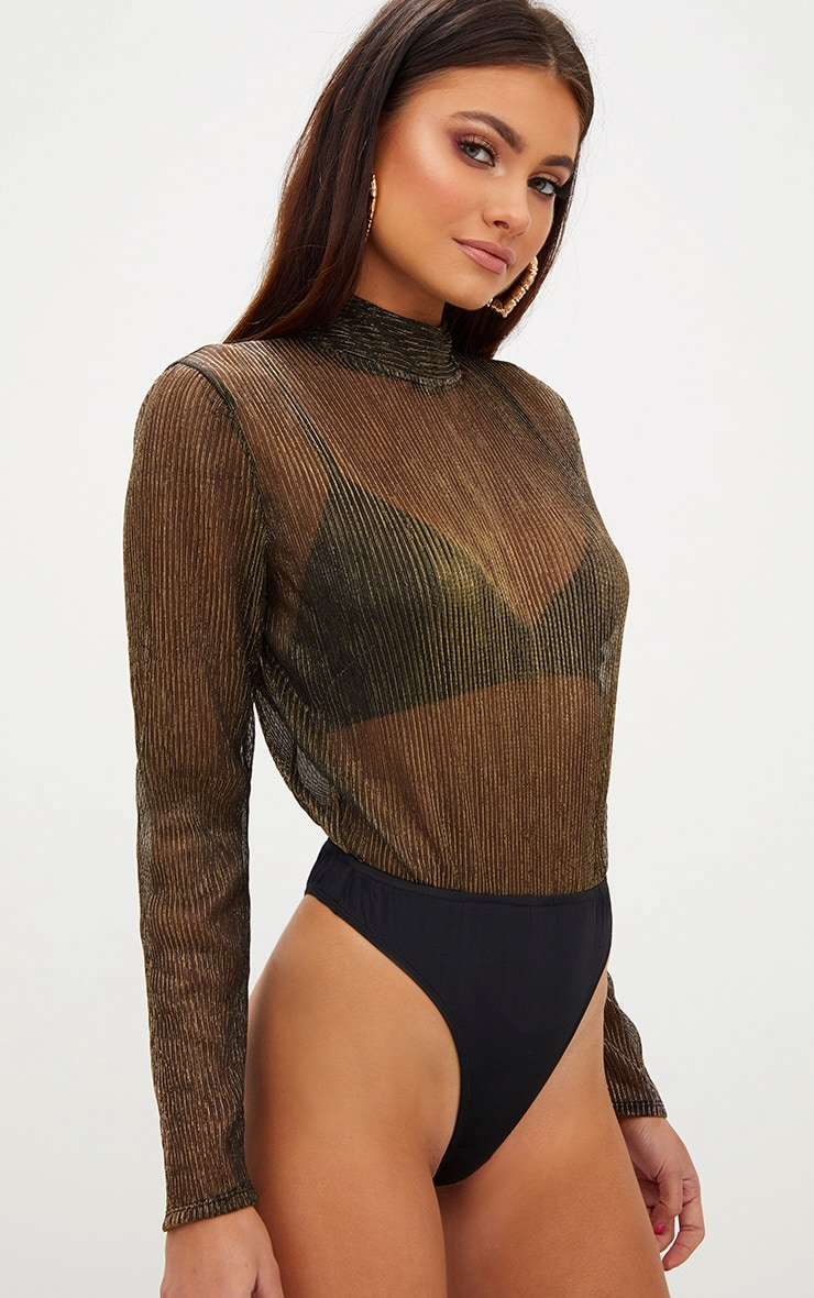 Gold Sheer Metallic Longsleeve Thong Bodysuit 1