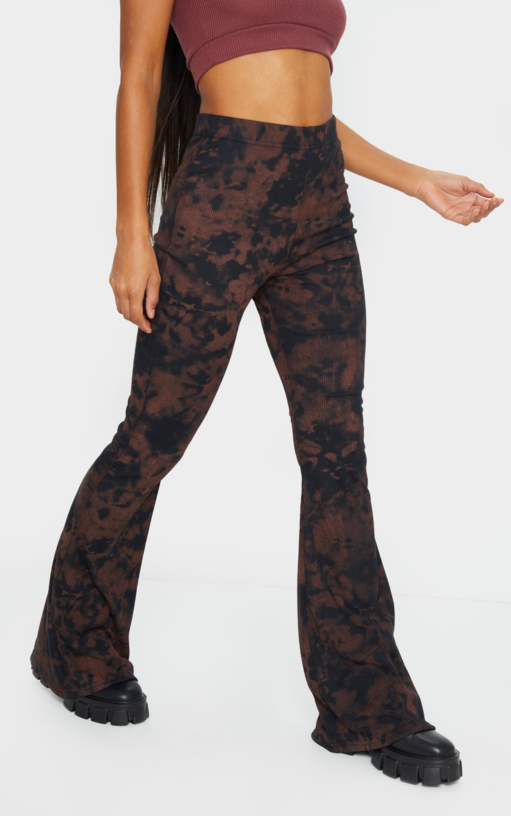 Rust Tie Dye Ribbed Flared Trousers 2