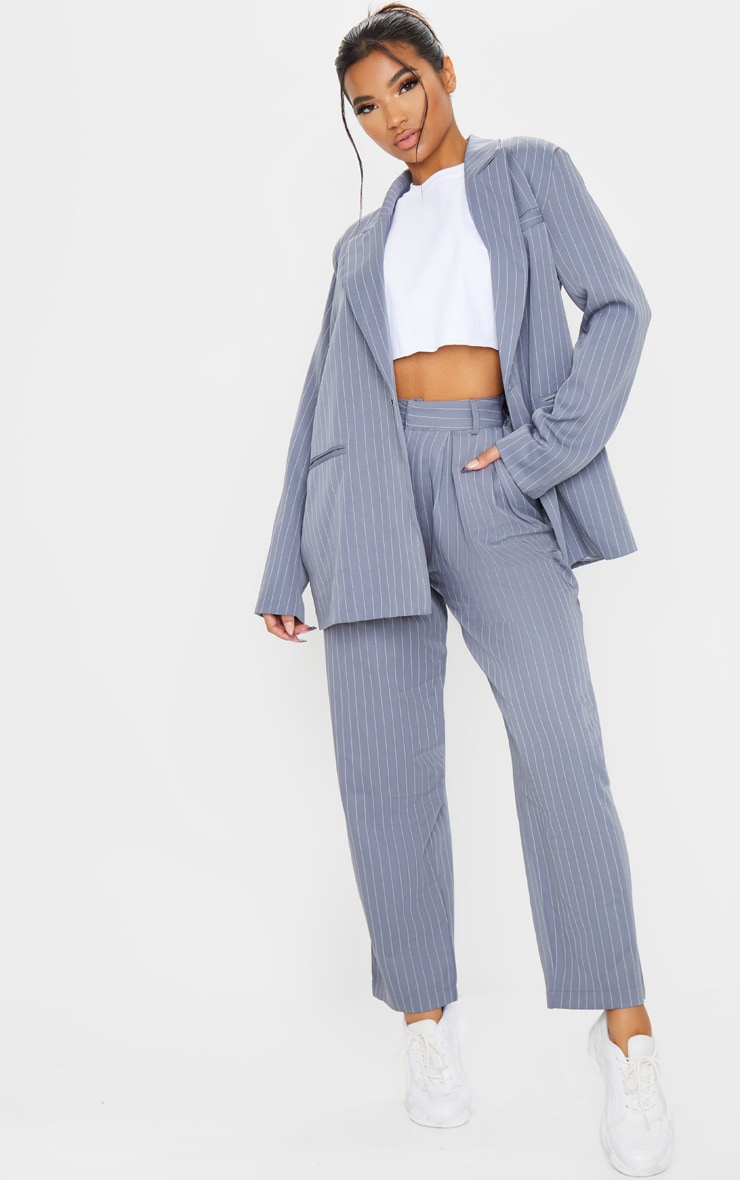 Charcoal Grey Pinstripe Oversized Dad Blazer 4