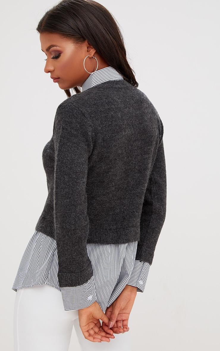 Grey Shirting Detail Jumper 2