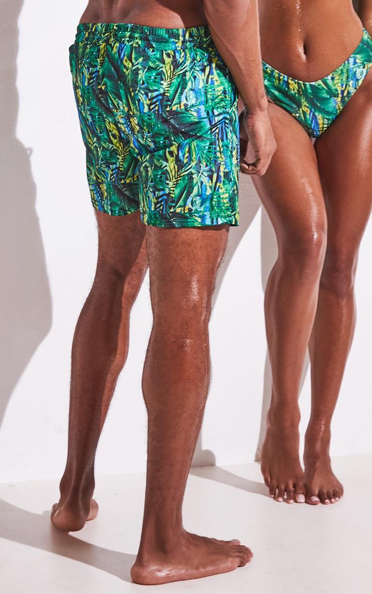 Green Tropical Printed Mid Length Swim Shorts 3