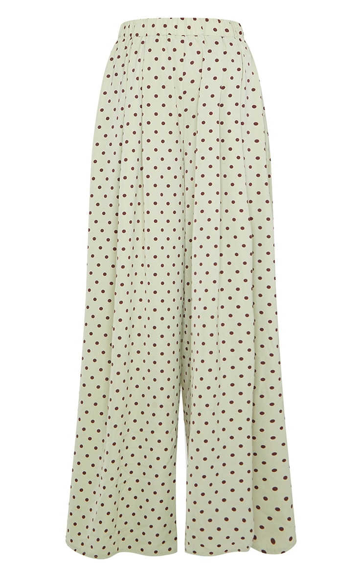 Sage Green Polka Dot Print Wide Leg Pants 5
